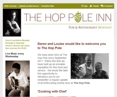 email newsletter - The hop pole, Bewdley web design