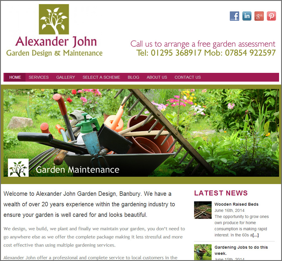 Website design for Alexander John Garden Design