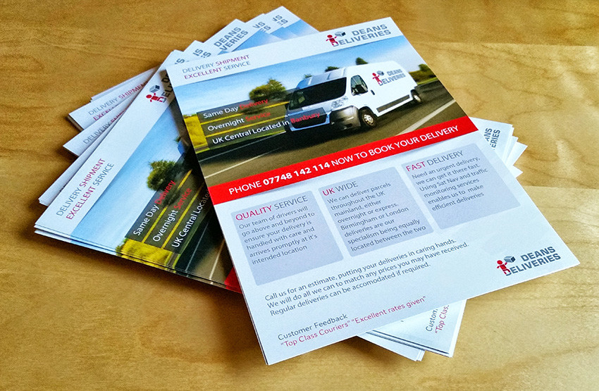 Deans Deliveries – Flyers and Business Cards…designed, printed & delivered
