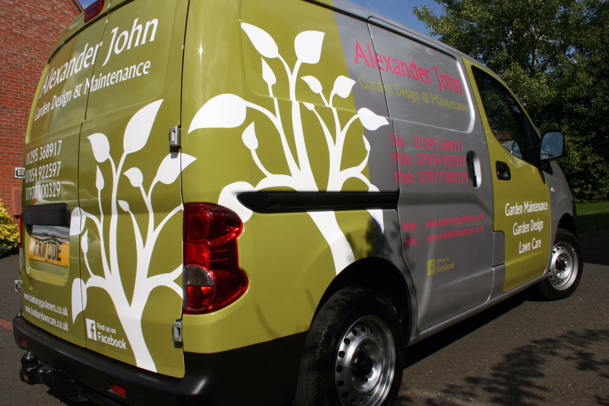 close up of Van signage for Banbury Gardeners